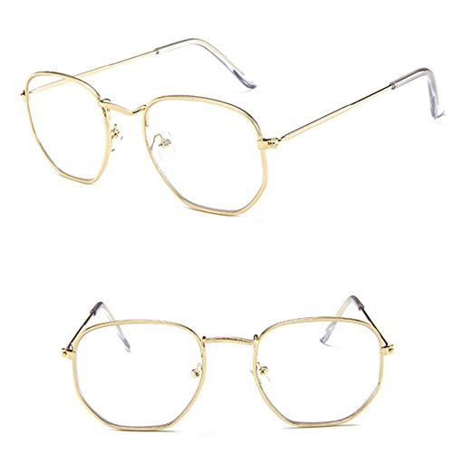 NECCT Polygonale Sonnenbrille Frauen Brille Lady Luxury Retro Metall Sonnenbrille Vintage Spiegel Uv400,Gold White