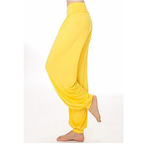 iBaste Super Doux Spandex Modal Pantalon Sarouel Bouffant Elastique Extensible Harem Yoga Pilates Femme Jaune