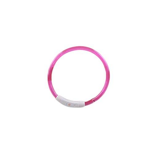 Hmeng LED Hundehalsband, Hunde Katze Welpen USB Wasserdichte LED Haustier Kragen Wiederaufladbare Blinklicht Band Sicherheit Verstellbar Haustier Hundehalsband (70cm, Rosa)