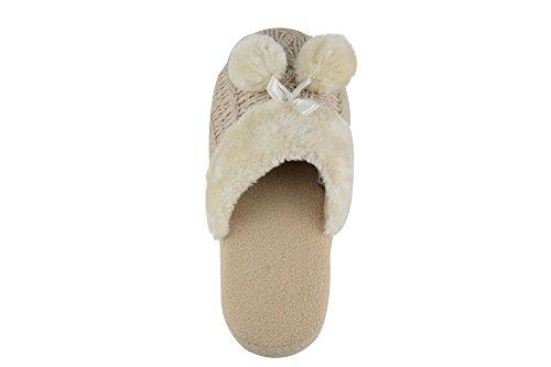 Hausschuhe Damen Innen Pantoffeln Mit Gestrickten Ober-und Pom Poms Beige