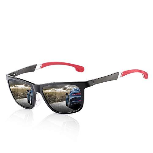 Polarisierte Sonnenbrille mit UV-Schutz Lesiure Sports Sonnenbrillen für Herren, polarisierte Al-Mg-Rahmen-Sonnenbrillen Superleichtes Rahmen-Fischen, das Golf fährt ( Farbe : Black frame/red leg )