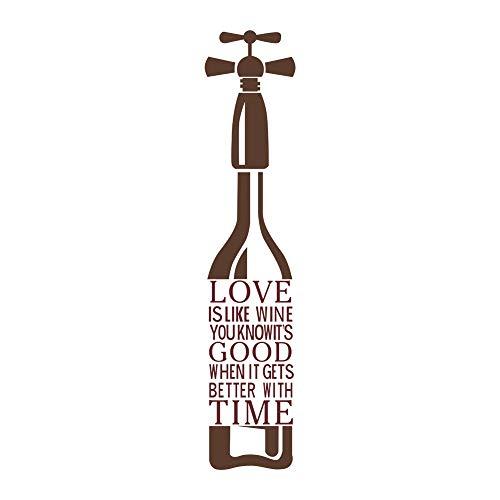 decalmile Rosso Scritte e Frasi Adesivi Murali Love IS Like Wine Bottiglia di Vino Vinile Removibile Adesivi da Parete Decorazioni per Cucina Sala da Pranzo Soggiorno