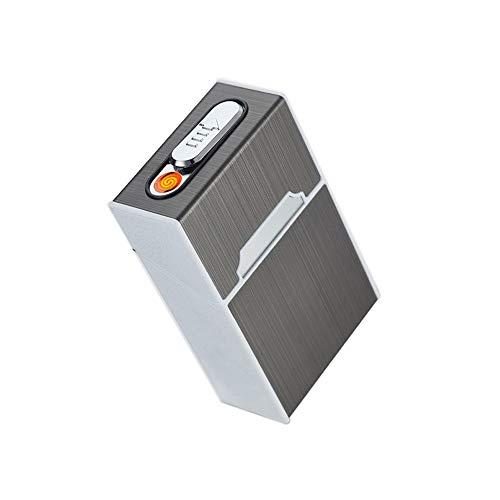 tui Zigarettenbox mit Integriertem Feuerzeug Winddichte Flammenlose Zigaretten Box Feuerzeug für 20 Zigaretten Zigarettenschachtel (2) ()