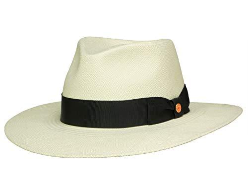 Mayser Nizza breitkrempiger Panamahut mit UV-Schutz - Natur-Schwarz (4-8001) - 55,5 cm (55)