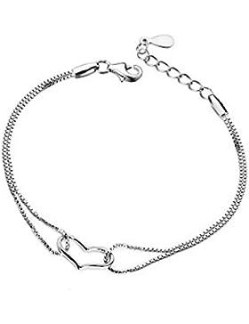 Casadeiy Fashion Armkettchen mit Herz aus 925er Sterling-Silber, mit silberfarbener Kette, Schmuck-Geschenkideen...