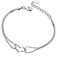 fwehfefh Fashion Armbänder mit Herz aus 925Sterling Silber, mit Silber Kette, Schmuck Geschenk Ideen für Frauen