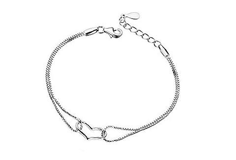 casadeiy Fashion Bracelet Cœur en argent sterling 925chaîne en argent bijoux femme Cadeau