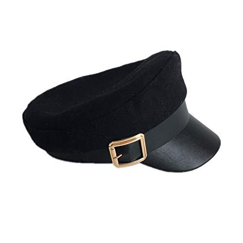 DsfddaeS Baskenmütze, Damen Baskenmütze, Herbst und Winter Europa und die Vereinigten Staaten Neue Retro Wolle Marine Hut, Männer und Frauen wild britische Mode Baskenmütze, Flache - Britische Marine Kostüm
