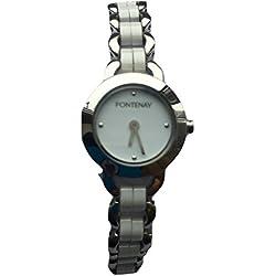 Fontenay Damen-Armbanduhr, analog, Quarz, weiße Keramik 3ATM wasserdicht