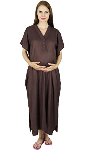 Bimba maternité Kaftan Ceinture Nursing Nuit robe, boutons avant, Baby Shower Gift Marron