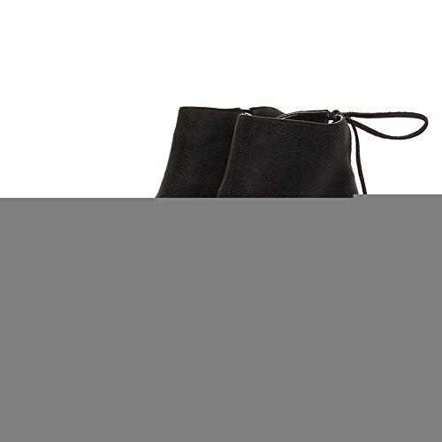 VogueZone009 Femme Lacet Pointu à Talon Correct De Cheville Bottes Noir