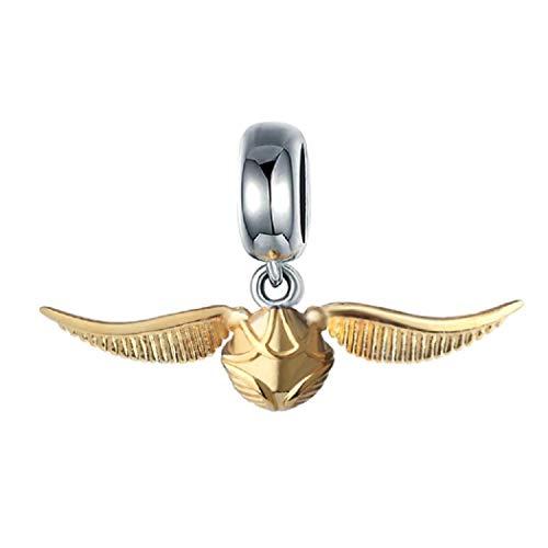 FeatherWish Harry Potter Anhänger fliegender goldener Schnitschkugel 925 Sterling Silber Charm mit goldenen Flügeln für Pandora-Armband oder -Halskette