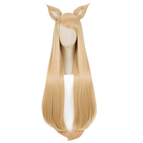 Machen Beauty Queen Kostüm - Alexsix LOL Kaisa Evelynn Akali lange lockige geheftet auf Pferdeschwanz Cosplay Perücke (Ahri)