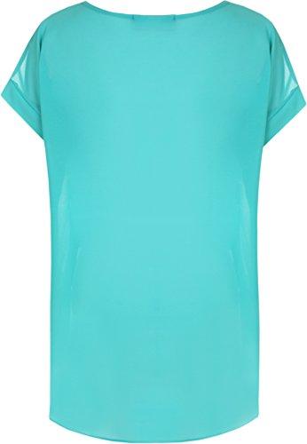 WearAll - Femmes Mousseline De Soie Trempette Ourlet Pur Court Manche Plaine Longue Haut - Hauts - Femmes - Tailles 44-56 Turquoise