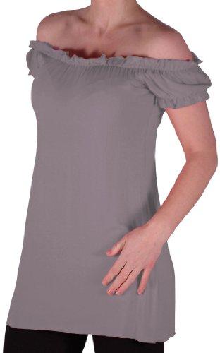 Eyecatch TM - Tunique tombant sur les épaules style bohémienne - Nikita - Femme - Plusieurs Tailles et Couleurs Gris