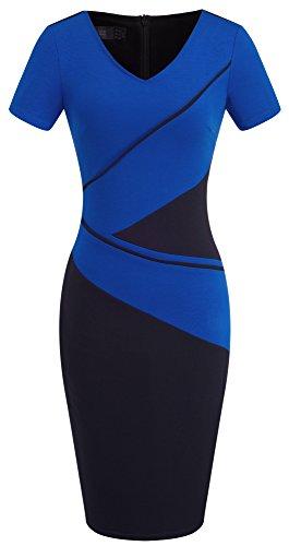 HOMEYEE Frauen elegante kurze Hülse Colorblock Knie-Länge zu arbeiten tragen um formales Kleid B384 Blau
