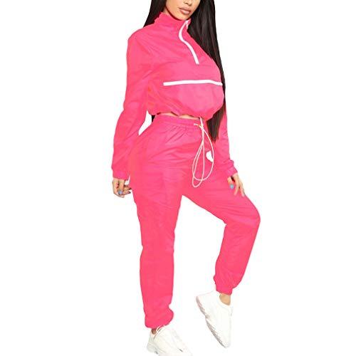 qiansu Frauen Zip Rollkragen Langarm Top Kurze Safari Lange Gerade Hosen Anzüge Zweiteiler Sportwear Trainingsanzug Neon Outfit - Adidas Langarm Rollkragen