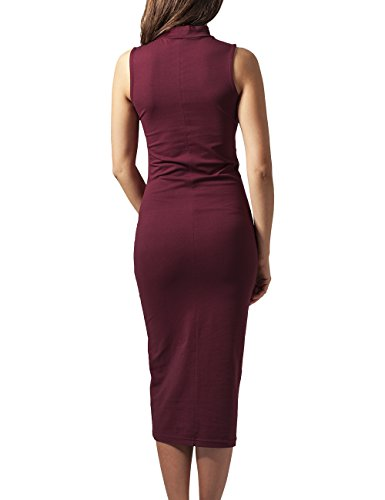 Urban Classics Damen Kleid Ladies Stretch Jersey Turtleneck Dress Rot (burgundy 606)