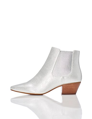FIND Damen  Western-Stiefel in Lackleder-Optik, Silber (Silver), 40 EU