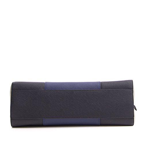 ARMANI JEANS Tricolor Handtasche, Safran Stoff, Griffe und Reißverschluss Dunkelblau