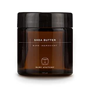 Bare Anatomy Raw Unrefined Shea Butter from Ghana, Africa | Organic Lip Balm for Men and Women | Moisturiser for Dry Skin and Itchy Scalp | Body Butter for Face, Body & Hair | 100gm