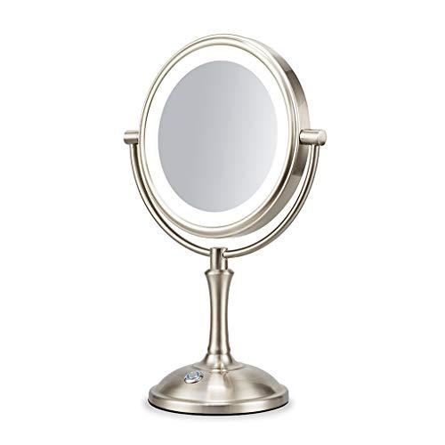 JING Espejo Doble Maquillaje Vanidad Espejo De Aumento Con Luz 3x Brillo Ajustable Senior Níquel Espejo...