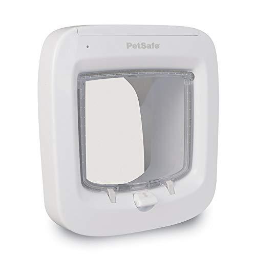 PetSafe Weiße Mikrochip Katzenklappe   22cm x 23,9cm groß   4 Verschlussmöglichkeiten   wetterfest und robust   Katzentür Haustierklappe Freilauftür Haustiertür