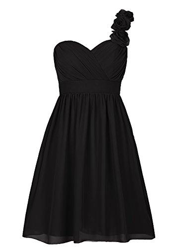 Dresstells, Épaule asymétrique robe courte de demoiselle d'honneur avec fleur, col en cœur Noir