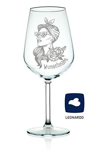Leonardo Verre à vin design Rockabilly Girl avec gravure d'un nom, idée cadeau originale & amusante, convient comme verre à vin rouge et verre blanc, gravure laser de haute qualité [personnalisable]