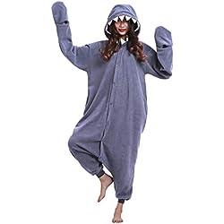 Pijama Animal Entero Unisex Kigurumi para Adultos con Capucha Cosplay Pyjamas Negro Tiburón Ropa de Dormir Traje de Disfraz para Festival de Carnaval Halloween Navidad