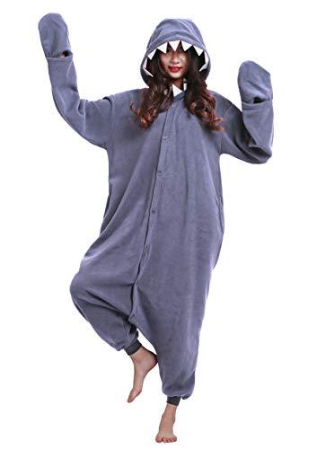 Jumpsuit Onesie Tier Karton Kigurumi Fasching Halloween Kostüm Lounge Sleepsuit Cosplay Overall Pyjama Schlafanzug Erwachsene Unisex Schwarz Hai for Höhe 140-187CM