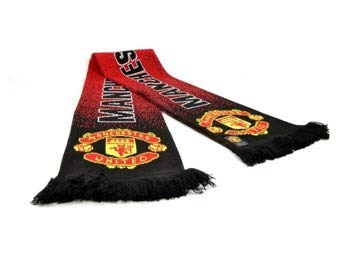 Manchester United Football Club Speckeled Scarf Jacquard Knit Badge Official -