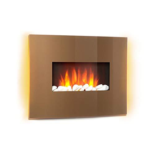 Klarstein Curved Copper L&F - Chimenea eléctrica con función calefactora , Chimenea electrónica , 1000 o 2000 W , Efecto llameante , Panel de Vidrio Curvo , Programable , Mando a Distancia , Cobre