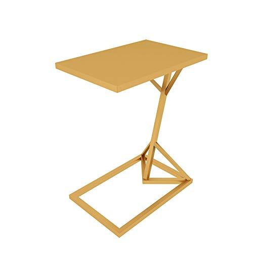 Klapptisch YANFEI, Metall Kleiner Beistelltisch Wohnzimmer Sofa Beistelltisch Typ C Kleiner Couchtisch, Schwarz, Gold, Weiß (45 * 30 * 58 cm) (Farbe : Gold) -