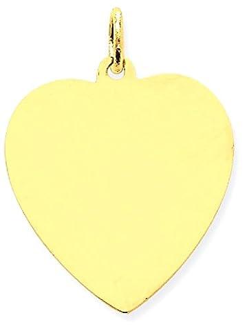 IceCarats 14k Yellow Gold Plain .027 Gauge Engravable Heart Disc Pendant Charm Necklace