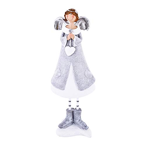 Dadeldo-Home Engel Tanja Deko-Figur Resin Silber-Weiss Weihnachten (21x7x5cm) -