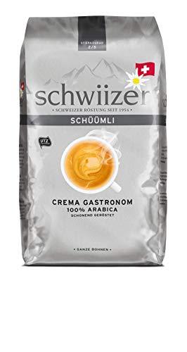 Schwiizer Schüümli Gastronom Ganze Kaffeebohnen (1kg, Stärkegrad 2/5, Premium Arabica) 1er Pack x 1kg