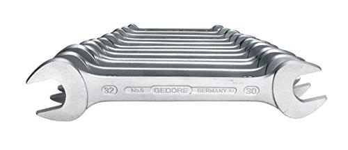 Preisvergleich Produktbild GEDORE 6-12 Doppelmaulschlüssel-Satz, Ausführung nach DIN 3110, hochwertige Industriequalität, Köpfe feingeschliffen, Blendfrei-Optik durch mattes Verchromen, 12-teilig, 6-32 mm