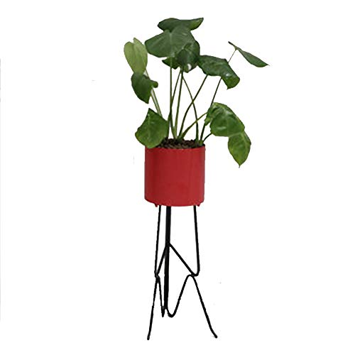HPYR Blumentöpfe mit Eisen Rack-Blumen-Anzeigen-Regal, Dekor Blumen-Behälter für Indoor Outdoor Büro Balkon Garten, Rot/Grün/Rosa-red