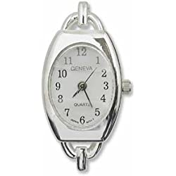 Silver Plated Watch with White Face - (WFBSW-1)