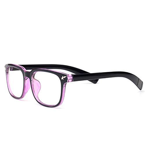 AdorabFrames Brille Schafmarke Mode Blitz Sterne Brillengestell Retro flacher Spiegel Nieten Quadrate Gestelle Unisex schwarzer lila Rahmen