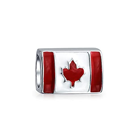 Bling Jewelry Canadian Flag Bead 925 Sterling Silver Barrel Charm