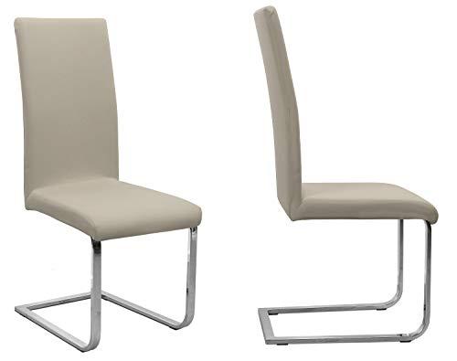 2er Set Jersey Stuhlhusse (Farbe wählbar), elastische Uni Stretch-Husse aus Baumwolle Bi-Elastisch (Beige)