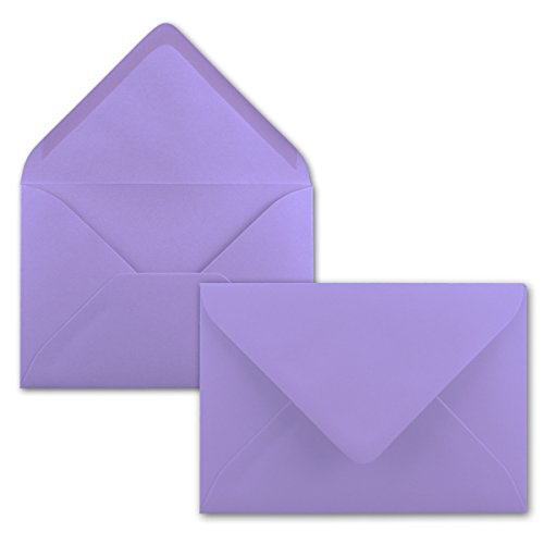 Sobres B6 119 x 174 mm Quickdraw Co | nassklebung | Papel Teñido Completo | Post de sobres sin ventana, ideal para Navidad, tarjetas de felicitación y invitaciones | Serie color froh, color morado 75 Umschläge