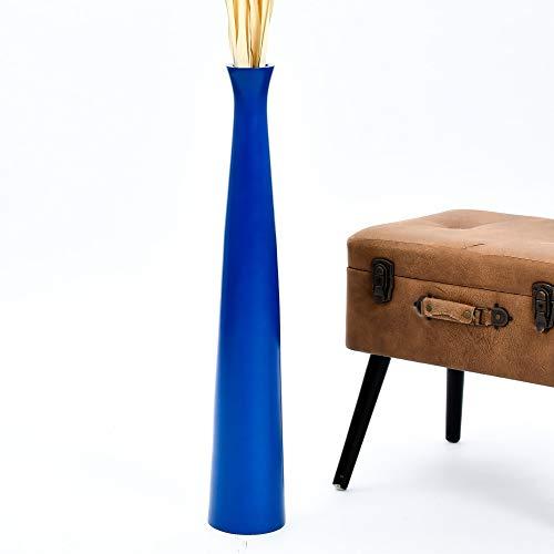 Leewadee Grande Vaso da Terra per Rami Decorativi Vaso Alto da Interno 75 Legno di Mango Blu