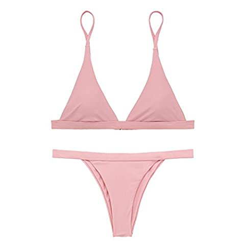 X-HERR Damen Sexy Triangel Top Brasilianisch Boden Bikini Badebekleidung (EU38-40=Tag Size XL, Rosa)