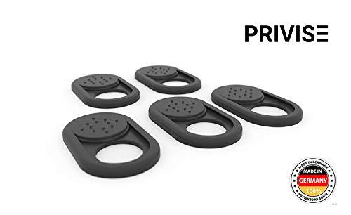 PRIVISE.io Webcam Abdeckung Made in Germany | Webcam Cover für Laptop  MacBook, iMac & Handy Ultra dünn Sticker mit starkem Halt wirksamer Schutz der Kamera vor Hackern 5er-Set Schwarz