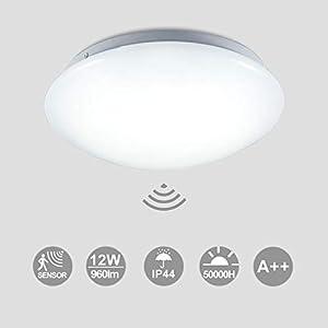 Hengda LED Deckenlampe mit Bewegungsmelder Deckenleuchte mit Tageslichtsensor Warmweiss 12W 960 Lumen Ø24 cm für…