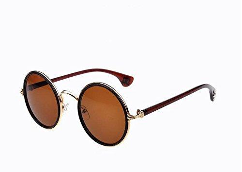 Lubier 1Polarisierte Sonnenbrille Eyewear Sonnenbrille Ultra Light Herren Damen Vintage Retro Rund Kreis Sonnenbrille (braun)