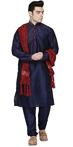 SKAVIJ Herren Tunika Kurta Pyjama und Stola Set Regular Fit (Blau, Brustumfang - 112 cm) -